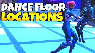 "ALL DANCE FLOOR LOCATIONS IN FORTNITE (Week 8 challenge) ""Dance on Different Dance Floors"""