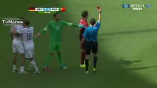 Pepe ( Red Card ) Ridiculous Foul on Thomas Muller Germany vs Portugal World Cup 2014