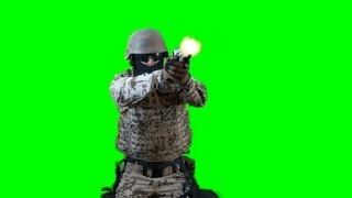 soldier shoots with gun - real Battlefield green screen footage 1 - free green screen