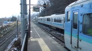 篠ノ井線E127系 姨捨駅到着 Shinonoi Line Obasute Station