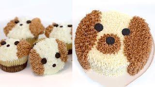 How to Make a Dog-Shaped Cake + CUPCAKES! | RECIPE