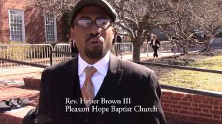 Interview with Rev. Heber Brown III at MCJE rally for police reform, Annapolis, 3/12/15