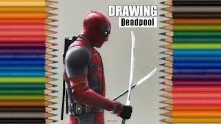 Speed Drawing: Deadpool Colored Pencils on Grey Paper | Jasmina Susak