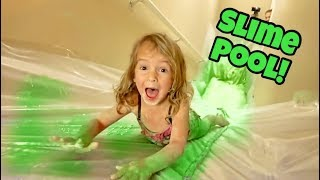 STAIR SLIDE INTO 200 LBS OF SLIME!