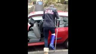 Hard hahha going into a car with a broken leg!