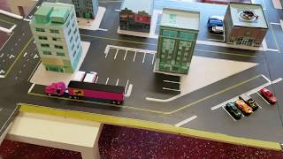 Homemade 1/64 scale  Match box car city Paperkraft buildings Hotwheels