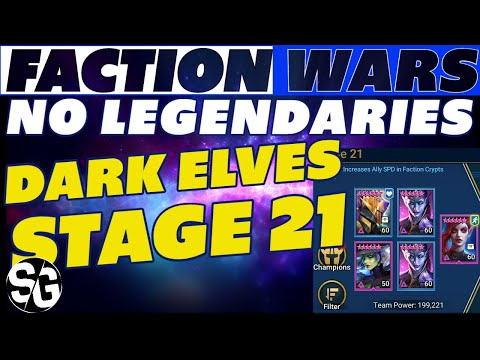 STAGE 21 DARK ELVES NO LEGENDARY EASY 3 STAR | RAID SHADOW LEGENDS | FACTION CRYPTS DARK ELVES 21