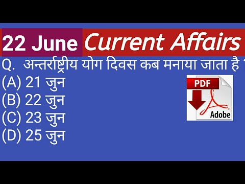 Download thumbnail for 22 June 2019 Current affairs   Daily