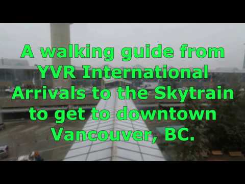 Vancouver Airport International Arrivals walk to Skytrain station