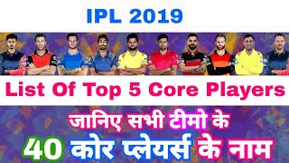 IPL 2019 - List Of Top 5 Core Players From All The 8 Teams | List Of All 40 Players