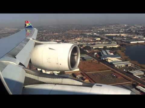 A340 South African Airways landing in Johannesburg