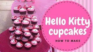 【Hello Kitty】Hello Kitty Cupcakes Tutorial (2 mins)  | Irma's Fondant Cakes