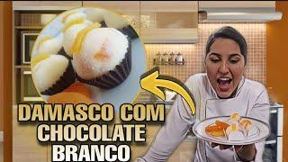BRIGADEIRO GOURMET DE CHOCOLATE BRANCO COM DAMASCO