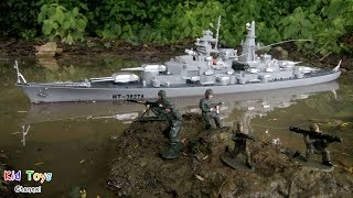 RC Battleship Bismarck class & Toy soldiers