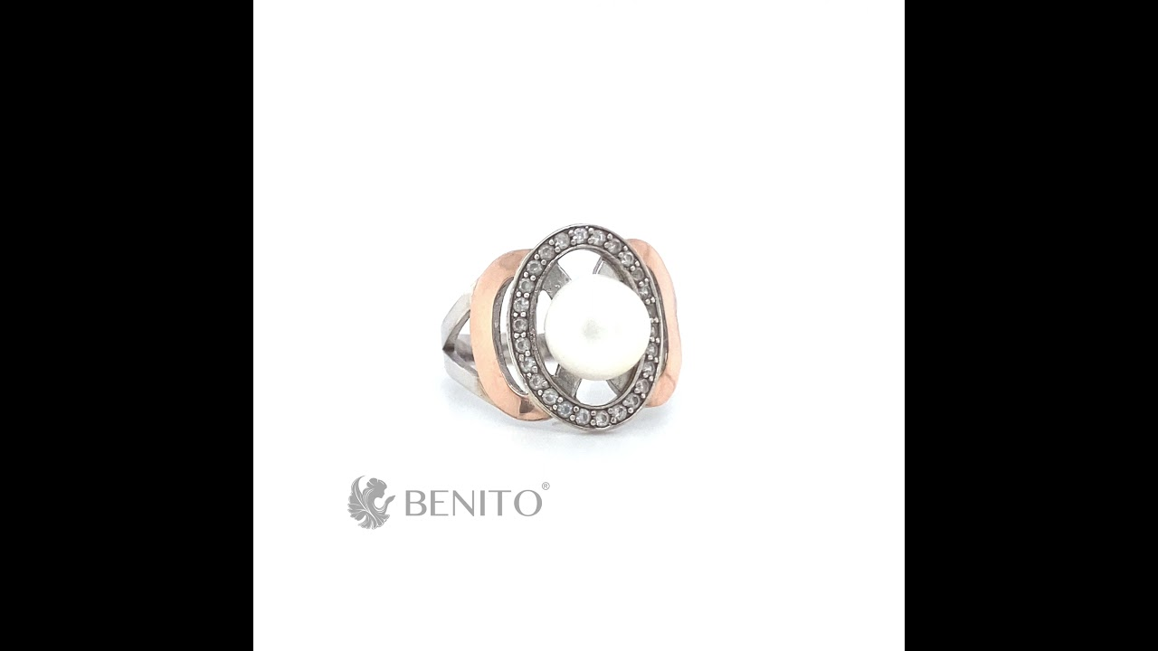 Fiamma Ring Pearl and White Zircon Stones