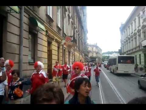 Danish fans in Lviv walking and singing