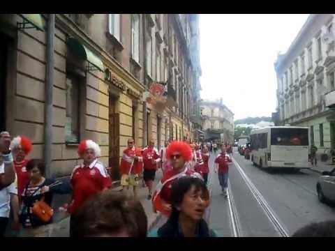 Danish fans in Lviv walking and singing