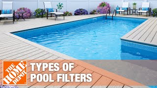 A video highlights features of pool filters.