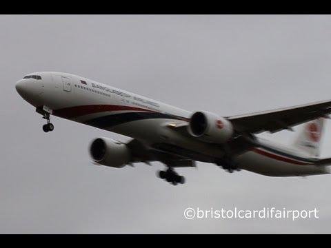 Biman Bangladesh Airlines Boeing 777-300ER S2-AFO Landing London Heathrow Airport (LHR/EGLL)