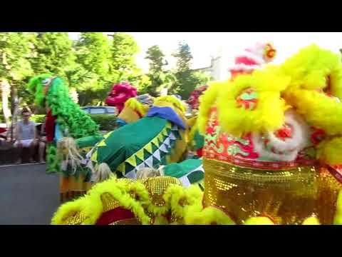 1061007新竹縣竹北新瓦屋踩街文化活動文山國小獅陣假日支援踩街演出 - YouTube