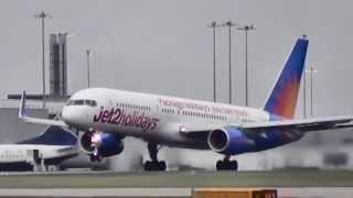 Jet2 Boeing 757-23N(WL) G-LSAK departs Manchester Int. into mist  25.4.2013