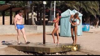Tina Ivanovic, Vuk Draskovic i Nevena Adzemovic na plazi