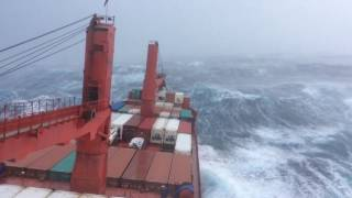 Nuka Arctica in bad weather in the North Atlantic