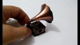 Miniatura Gramofone de Metal Vitrola Retro