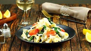 Apenas 8 ingredientes: macarrão com salmão e espinafre