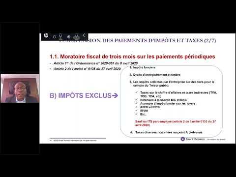 Webinar 06: Revue des mesures fiscales adoptées par les autorités dans le cadre du COVID19.