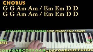 Love On The Brain (Rihanna) Piano Lesson Chord Chart - G Am Em D F