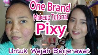 ONE BRAND MAKEUP TUTORIAL PIXY KAWAII UNTUK WAJAH BERJERAWAT | Full Makeup Acne Skin Coverage width=