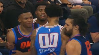 Russell Westbrook Exchanges Words With Willie Cauley-Stein After Shoving and Both Wanna Fight!