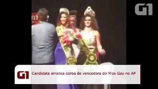 VÍDEO candidata não aceita derrota e arranca coroa de Miss Amapá Gay