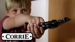 Max Pulls A Gun On Callum - Coronation Street