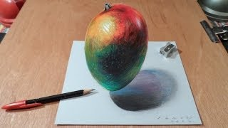 Watch My Draw a 3D Levitating Mango, Trick Art by Vamos