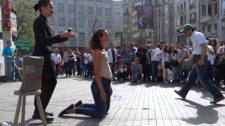 WhOMAN, Performance Art, woman shaved, Istiklal, Galatasaray, Istanbul Turkey Margaux Aubin width=