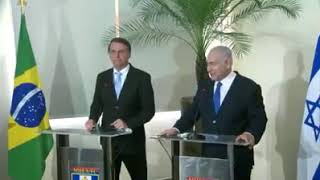 Presidente Bolsonaro discursa com primeiro ministro de Israel.