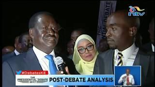 Raila Odinga arrives for the Presidential debate