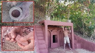 Primitive Technology, Build ant-hill house - make up and coloring hut