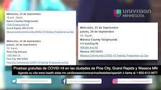Pruebas gratuitas de COVID-19 en las ciudades de Pine City, Grand Rapids y Waseca MN