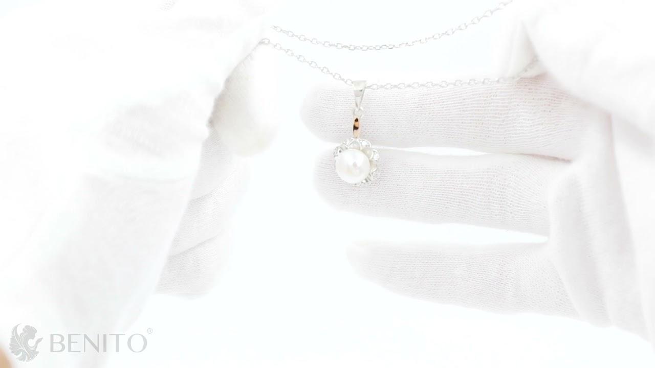 Germana Pendant White Pearl and Zircon Stones