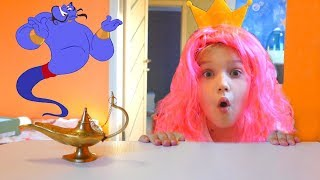 Niki play with Magic Genie and wishes toys and playhouses