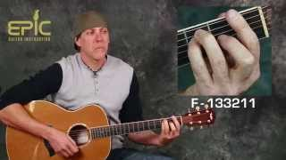 Learn John Cougar Mellencamp Pink Houses EZ acoustic guitar song lesson with chords strum patterns