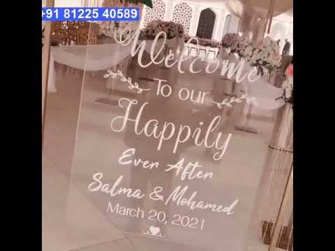 Transparent Acrylic Name Board Wedding Marriage Reception Entry Decoration +91 81225 40589