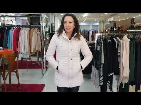 b6136af3d Jaqueta Estofada Alongada Capuz Removível Safira Fashion Cor Nude ...