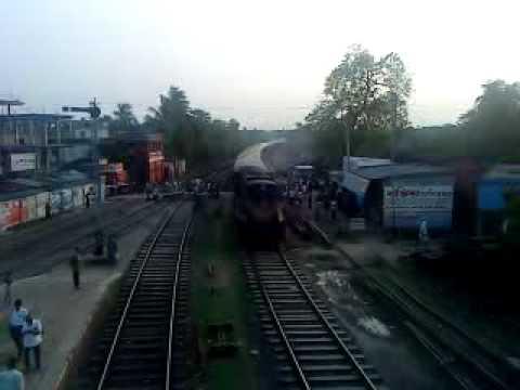 Bangladesh Railway Mohananda Express Train in Poradah Junction station..mp4