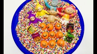 CHOCOLATE Pumpkin Counting with TELETUBBIES and IN THE NIGHT GARDEN Toys!