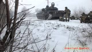 Wojna na Ukrainie 19 02 2015 Debalcewe Rebelianci wjeżdżają do dzielnicy przemysłowej
