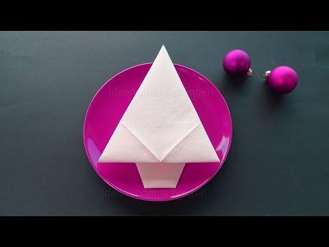 Servietten falten Weihnachten: Weihnachtsbaum - Einfache Weihnachtsdeko selber machen - DIY